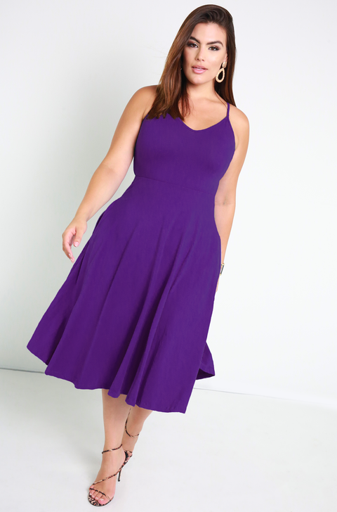 Purple Essential Strappy Skater Midi Dress w. Pockets