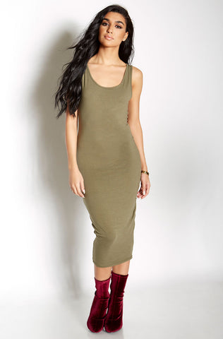 Rebdolls Essential Short Sleeve V-Neck Midi Dress - Nude - FINAL SALE