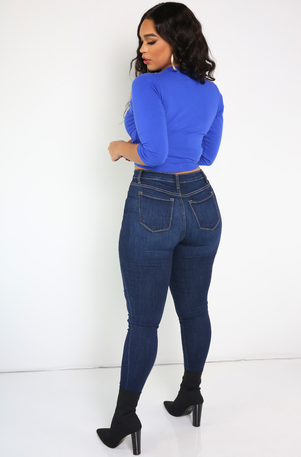 Royal Blue Crew Neck 3/4 Sleeve Crop Top