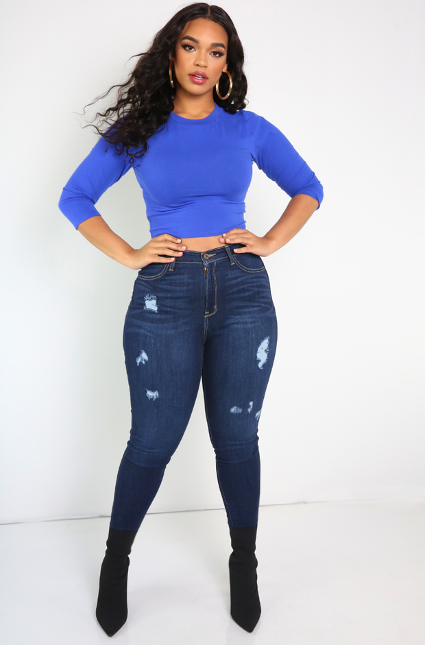 Royal Blue Crew Neck 3/4 Sleeve Crop Top Plus Sizes