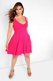 Fuchsia Essential Skater Mini Dress With Pockets Plus Size