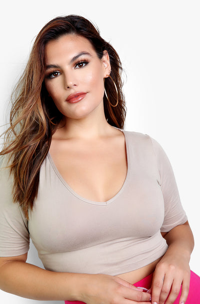 Nude Essential V-Neck Crop Top Plus Size