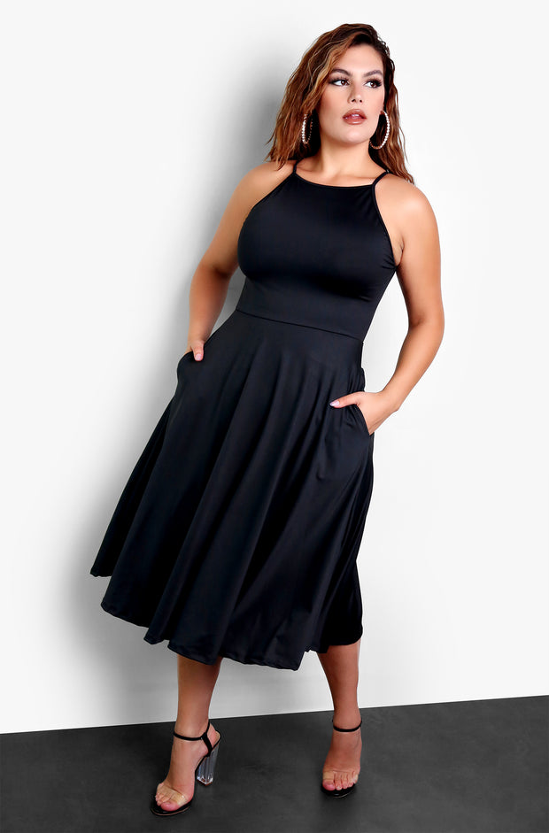 Black Essential High Neck Midi Dress with Pockets Plus Sizes