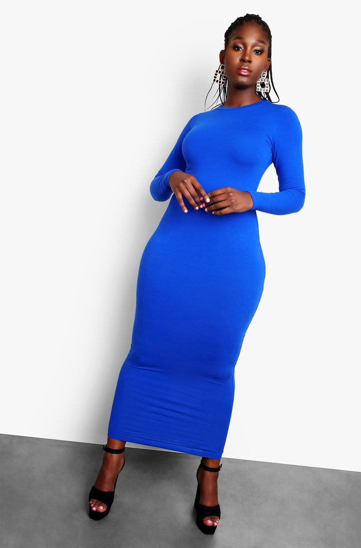 Royal Blue Essential Deep Scoop Neck Bodycon Maxi Dress Plus Sizes