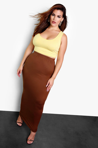 Brown Essential Bodycon Maxi Skirt Plus Size
