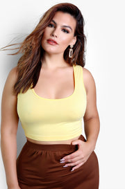 Yellow Essential Tank Crop Top Plus Sizes