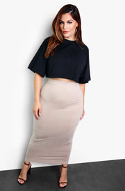 Nude Essential Bodycon Maxi Skirt Plus Size