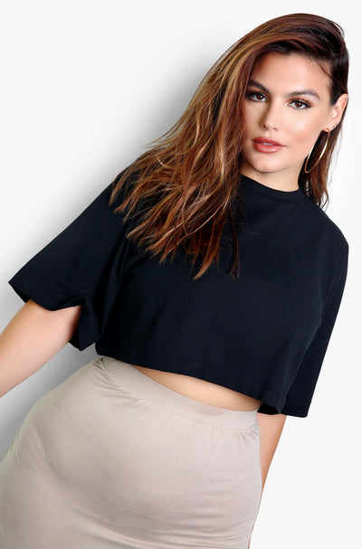 Black Essential Oversized Cropped T-Shirt Plus Sizes