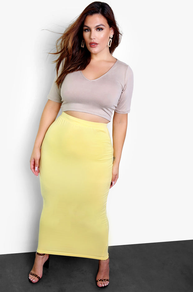 Yellow Essential Bodycon Maxi Skirt Plus Size