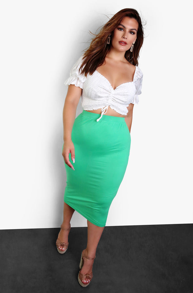 Green Essential Bodycon Midi Skirt Plus Size