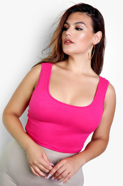 Fuchsia Essential Tank Crop Top Plus Sizes