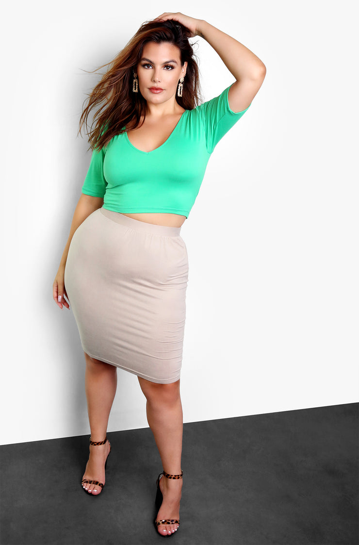 Nude Essential Bodycon Mini Skirt Plus Size