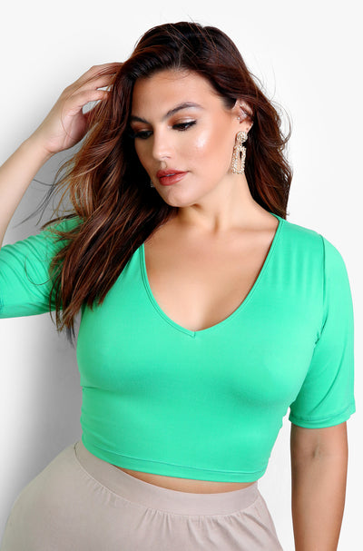 Mint Essential V-Neck Crop Top Plus Size