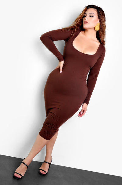 Rebdolls Essential Deep Scoop Neck Bodycon Midi Dress
