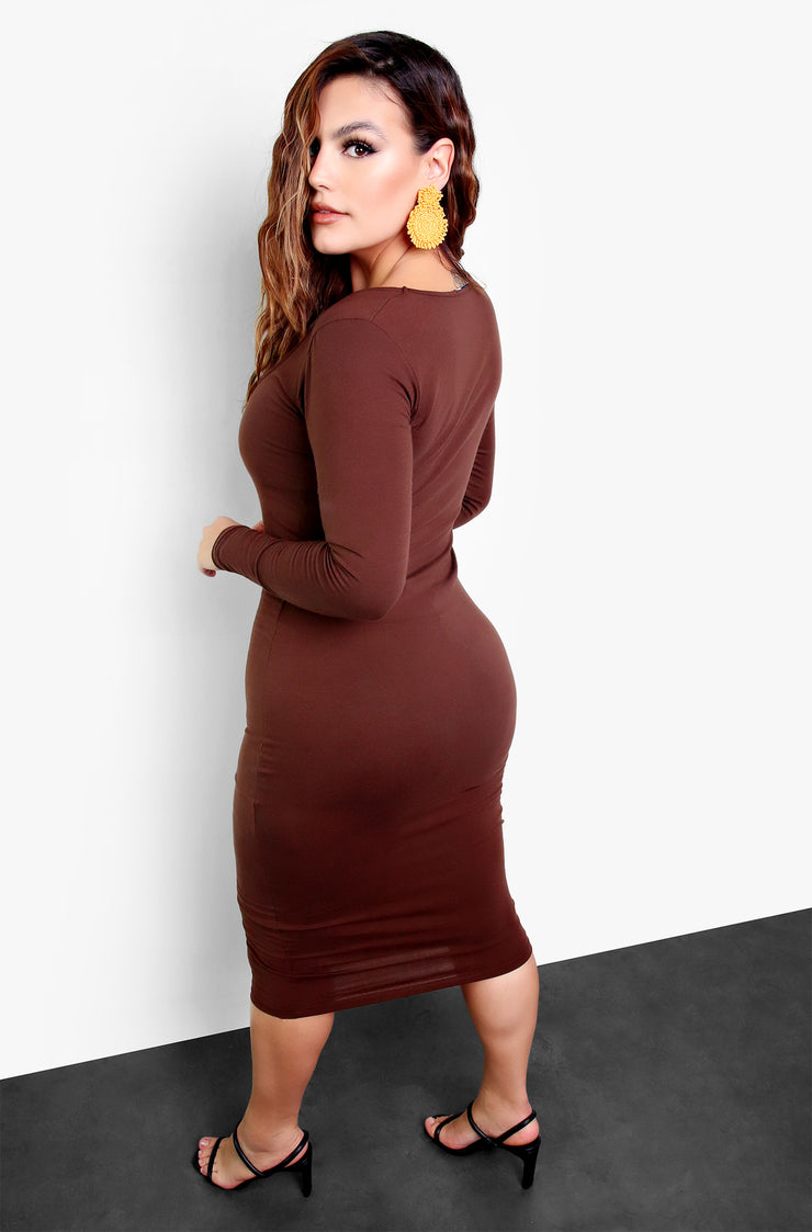 Rebdolls Essential Deep Scoop Neck Bodycon Midi Dress - Brown
