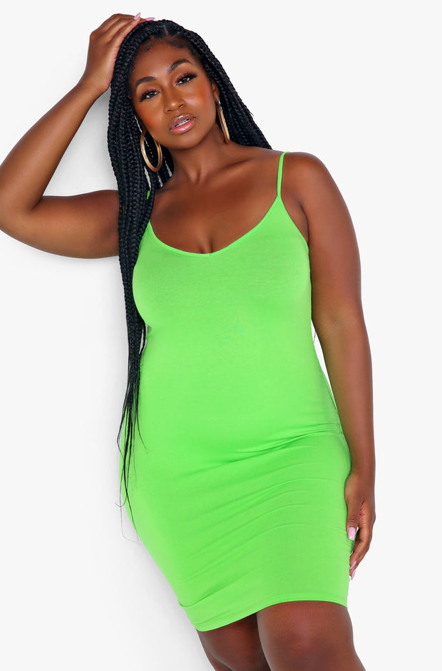 Lime Green Essential Strappy Bodycon Mini Dress Plus Sizes