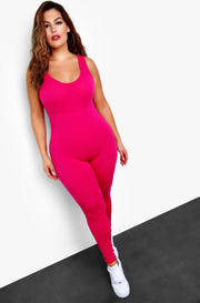 Fuchsia Essential Tank Jumpsuit Plus Size