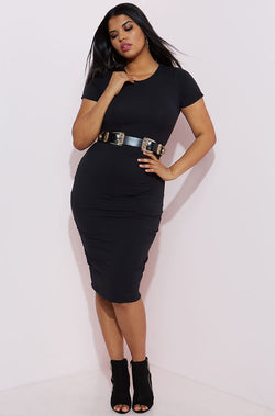 Black Essential Short Sleeve Crew Neck Bodycon Midi Dress plus sizes