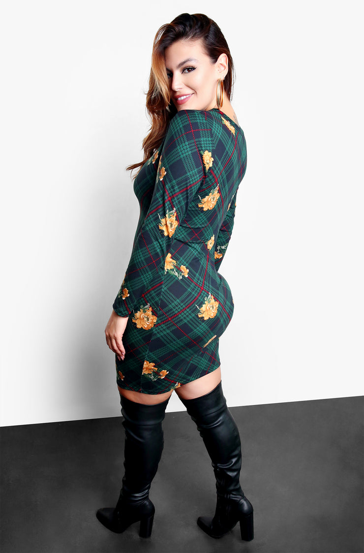 "Rebdolls ""Evening Glow Up"" Long Sleeve Plaid Bodycon Mini Dress"