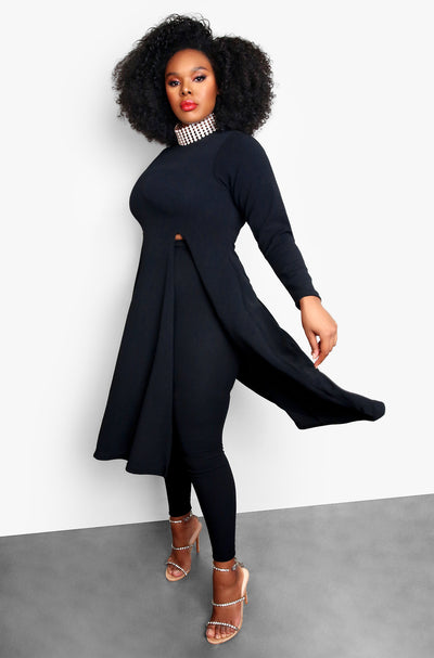 Black Plus Size Long Sleeve Cut Out Top and Matching Pants