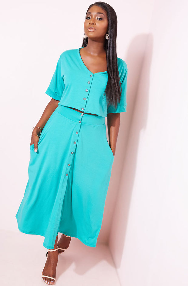 Turquoise Button Down Midi Skater Skirt With Pockets plus sizes