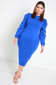 Royal Blue Puff Sleeve Bodycon Midi Dress Plus Sizes