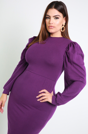 Purple Puff Sleeve Bodycon Midi Dress Plus Sizes