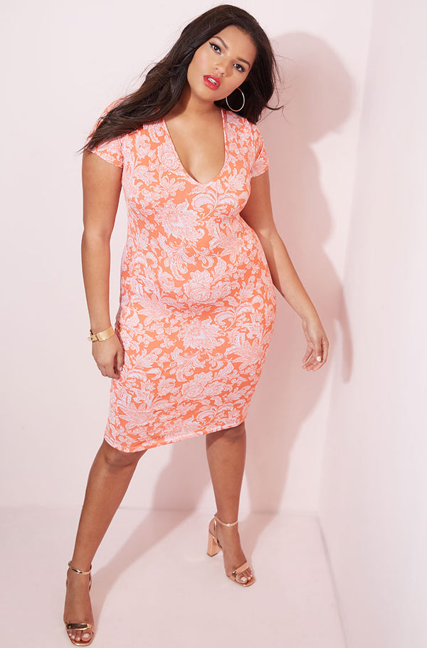 Orange Printed Short Sleeve Bodycon Midi Dress plus sizes