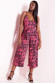 Fuchsia V-Neck Culotte Jumpsuit  plus sizes