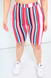 Pink Striped Bermuda Shorts Plus Size
