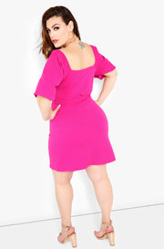 Fuchsia Sweetheart Puff Sleeve Mini Dress Plus Size