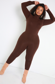 Brown Turtleneck Catsuit Plus Sizes