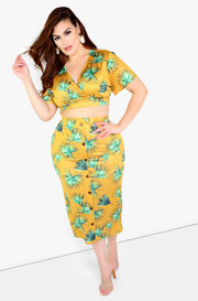 Mustard Wrap Floral Crop Top Plus Sizes
