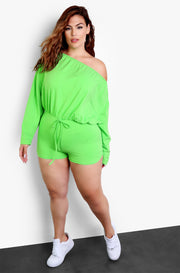 Lime Green One Shoulder Long Sleeve Jumper Plus Sizes