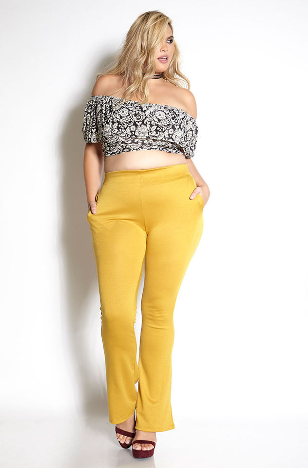 Mustard Ponte Pants With Pockets Plus Sizes
