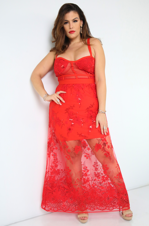 Red Lace Maxi Dress Plus Sizes