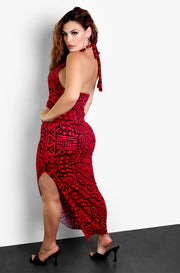 Burgundy Aztec Printed High Neck Bodycon Maxi Dress Plus Size