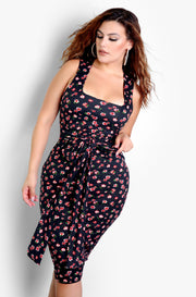 Black Tie Front Floral Bodycon Midi Dress Plus Sizes