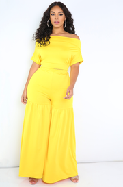 Yellow Over The Shoulder Top Plus Size