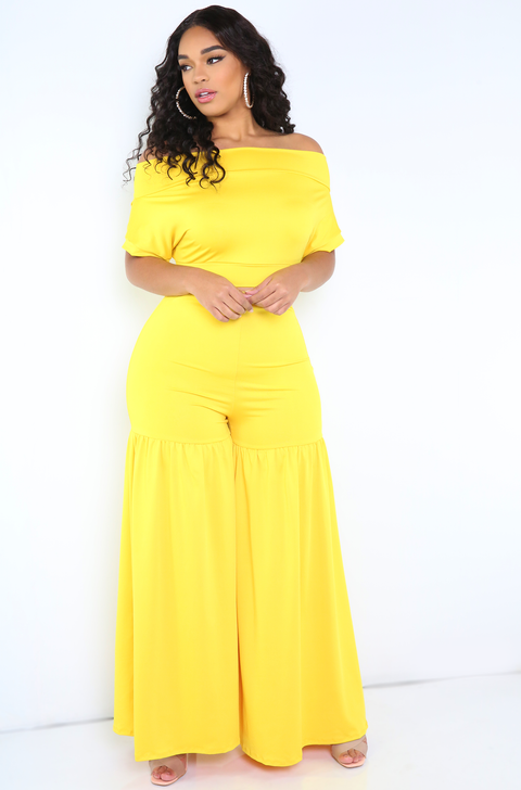 Yellow Ruffled Pants Plus Sizes