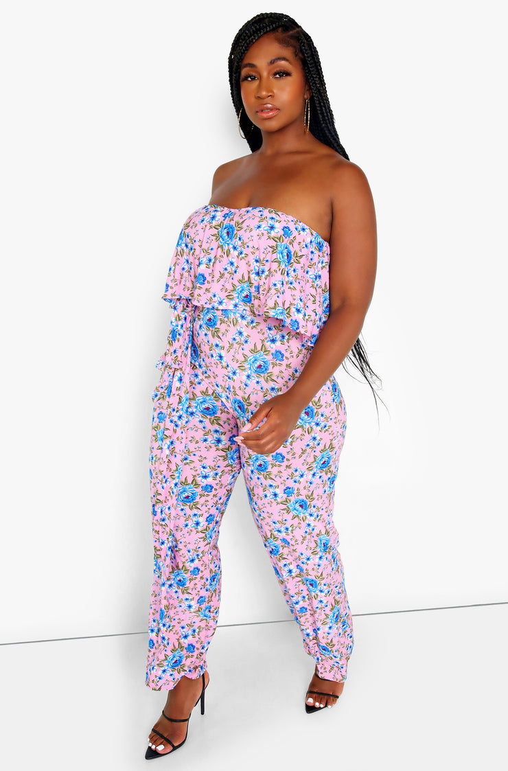 Pink Ruffle Wide Leg Sleeveless Jumpsuit Plus Sizes