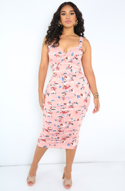 Blush Sweetheart Neckline Ruched Midi Dress Plus Sizes