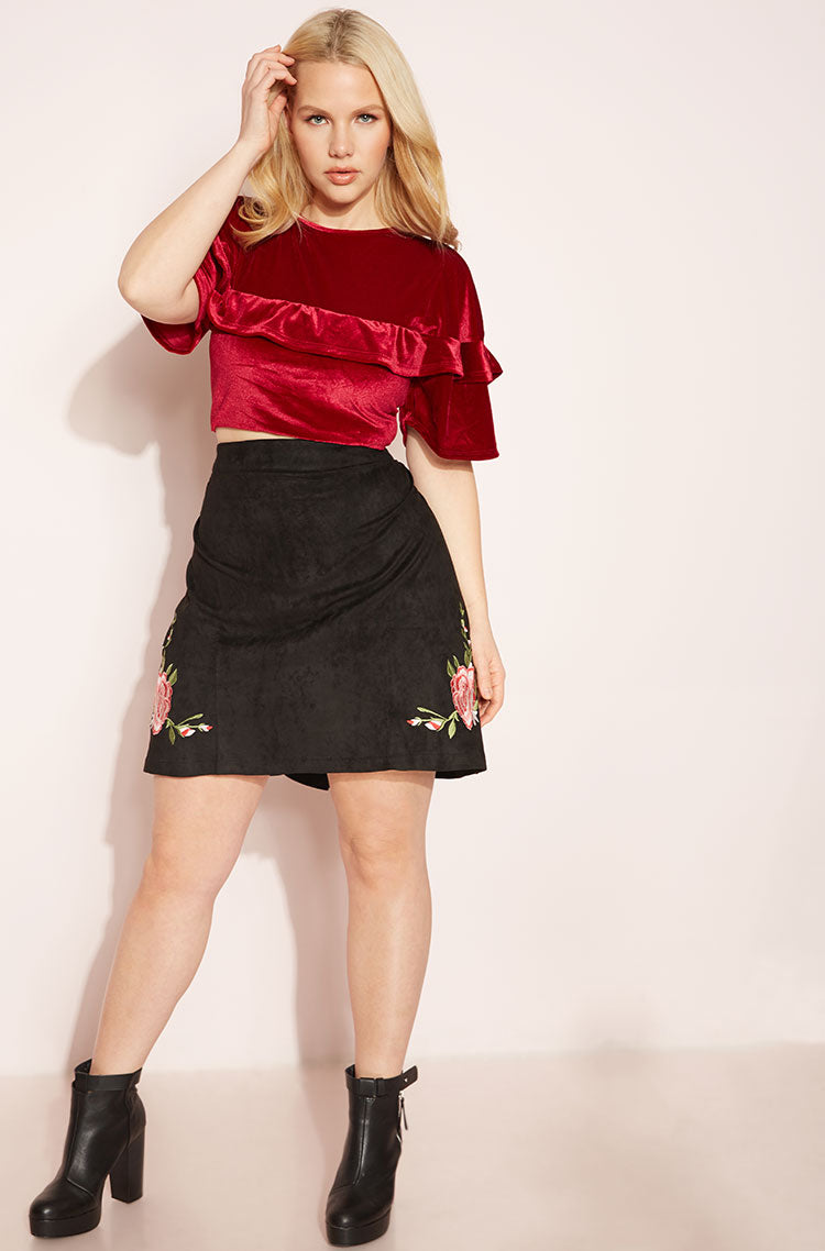 Black Faux Suede Bodycon Mini Skirt Plus Sizes