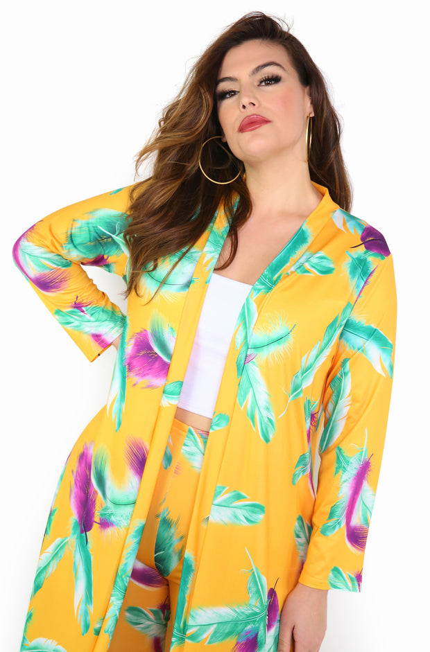 Golden Yellow 3/4 Sleeve Cardigan Plus Sizes