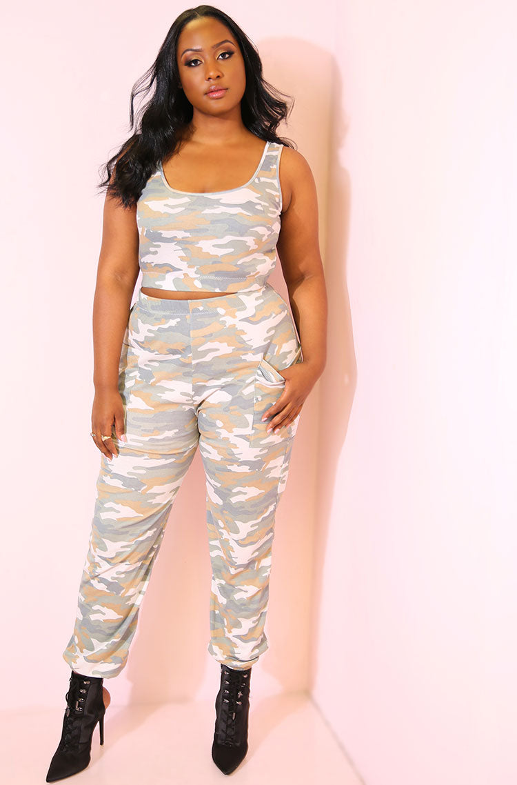Olive Camouflage Crop Top plus sizes