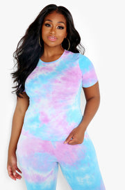 Purple Tie Dye Crew Neck Short Sleeve Top Plus Sizes