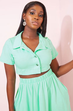 Mint Button Down Crop Top plus sizes
