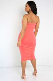 Coral Strapless Midi Dress Plus Sizes