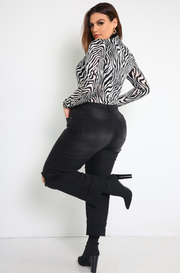 Black Zebra Print Bodysuit Plus Sizes