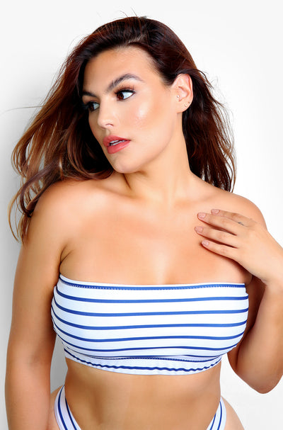 Blue Stripe Swim Tube Top Plus Size